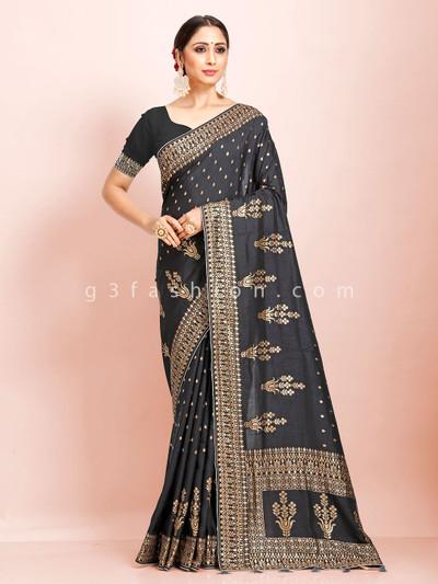 Black dola silk traditional wear sari