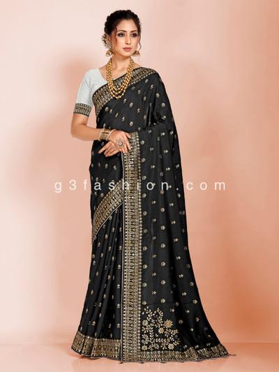 Black dola silk wedding saree in tassels pallu