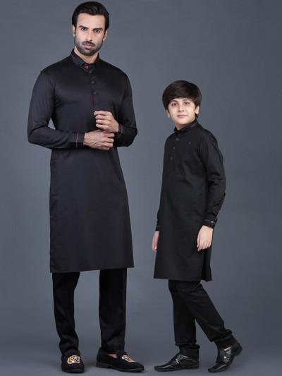 Black festive cotton father son pathani suit