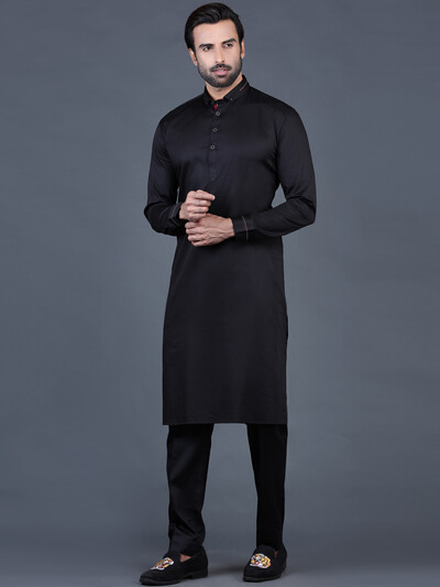 Black festive men cotton pathani suit