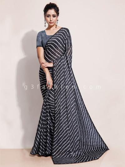 Black leheriya saree in georgette