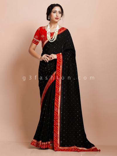 Black muga silk festive wear designer saree with contrast border