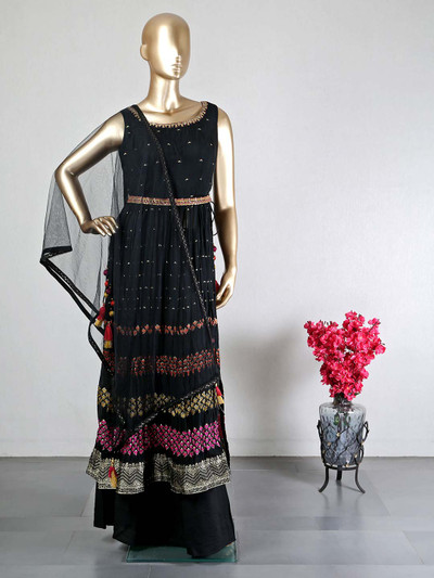 Black palazzo suit for wedding