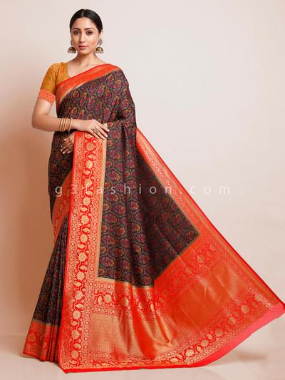 Black pashmina banarasi silk saree design for wedding