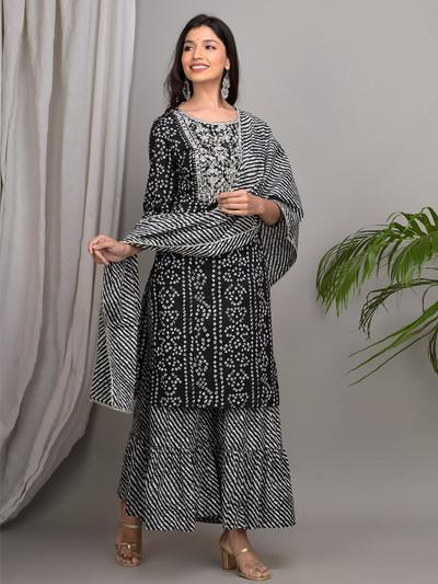 Black punjabi style cotton printed festive wear sharara suit