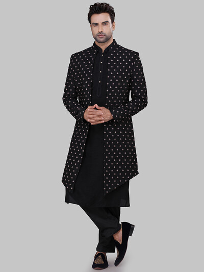 Black raw silk indo western for wedding