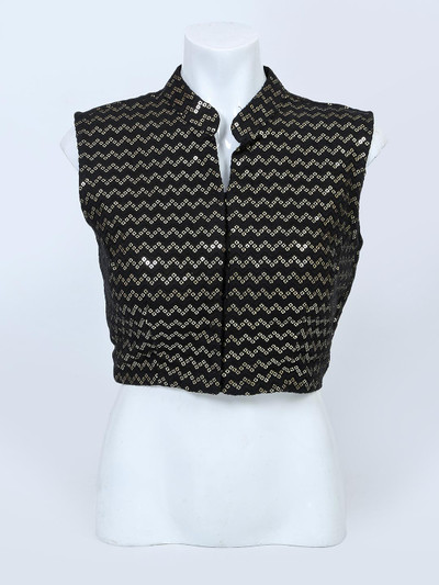 Black readymade blouse for women in raw silk