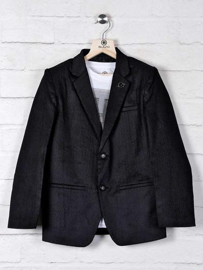 Black solid boys blazer in terry rayon