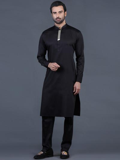 Black solid cotton mens pathani suit