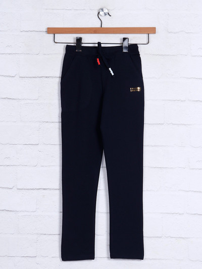 Black solid girls jeggings in cotton