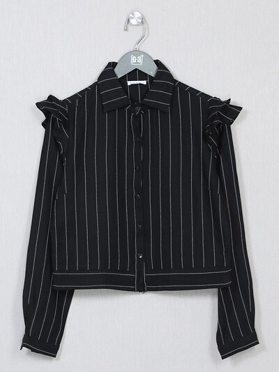 Black striped style casual top