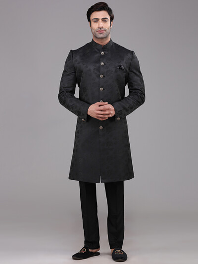 Black terry rayon classic indo western