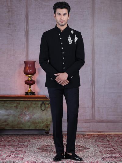 Black terry rayon designer jodhpuri suit with thread work