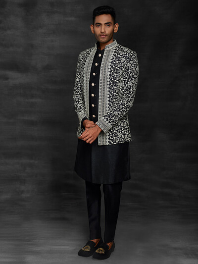 Black terry rayon party wear indo western for mens