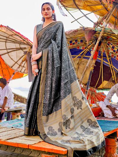 Black wedding wear handloom cotton saree