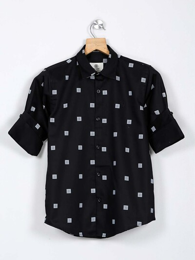 Blazo black printed casual boys shirt