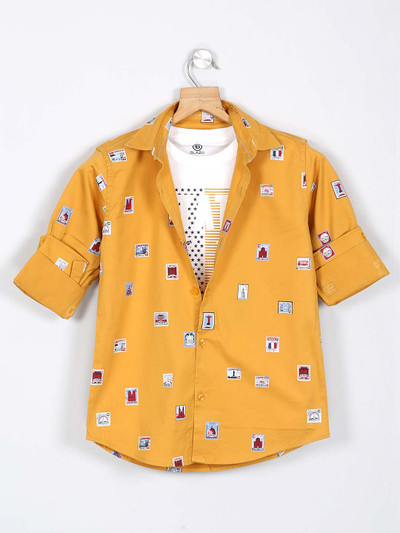 Blazo cotton yellow printed shirt