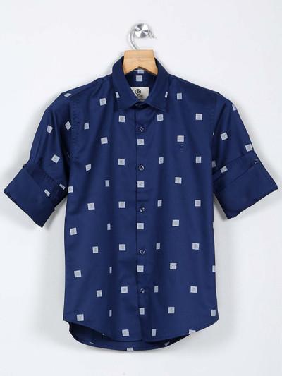 Blazo dark blue color printed shirt
