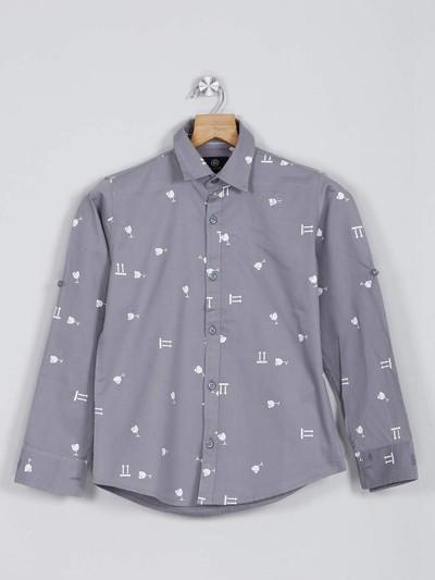Blazo grey printed casual cotton boys shirt