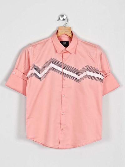Blazo off peach printed cotton shirt