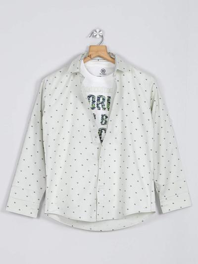 Blazo off white printed cotton shirt