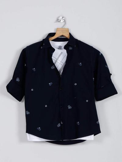 Blazo printed navy cotton shirt