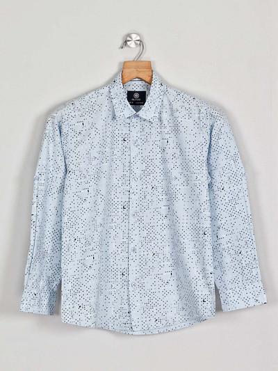 Blazo sky blue printed pattern full sleeve shirt