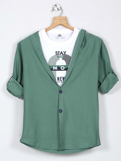 Blazo slim collar green casual shirt