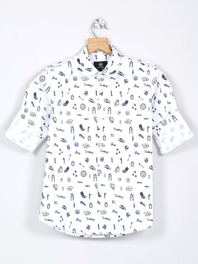 Blazo white printed casual cotton boys shirt