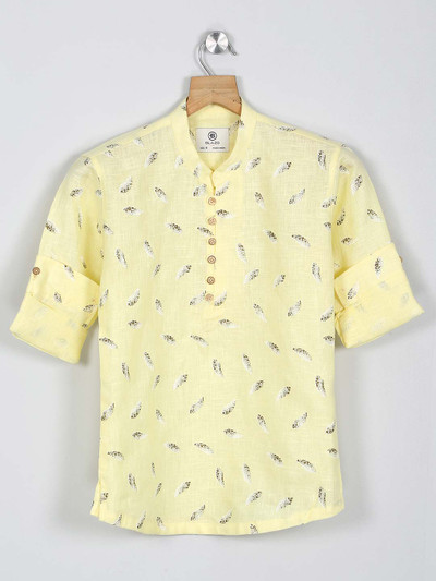 Blazo yellow printed casual wear shirt