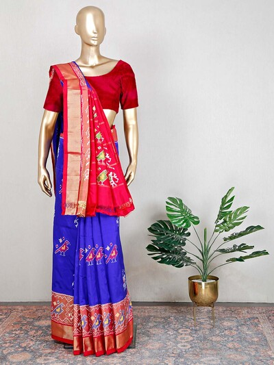 Blue and red beautiful patola silk saree for wedding
