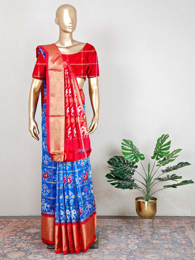 Blue and red gorgeous wedding wear patola silk saree