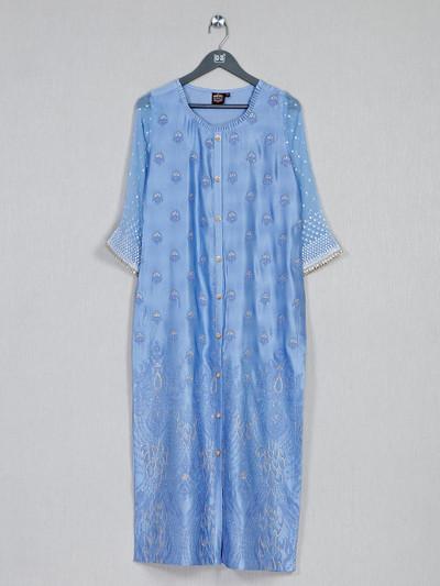 Blue casual kurti for women in cotton