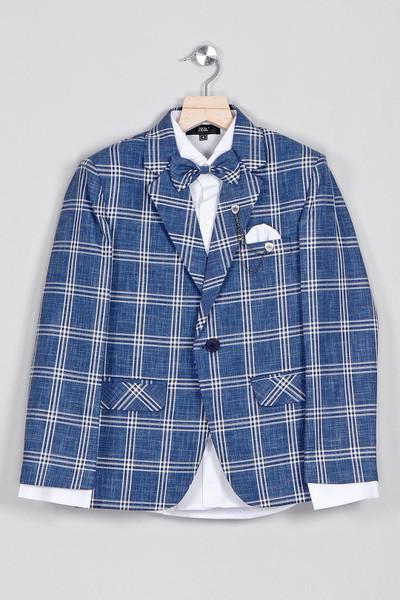 Blue checks cotton tuxedo suit