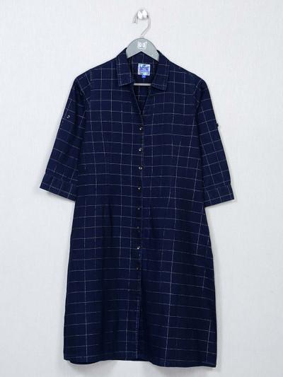 Blue chexs cotton top for women