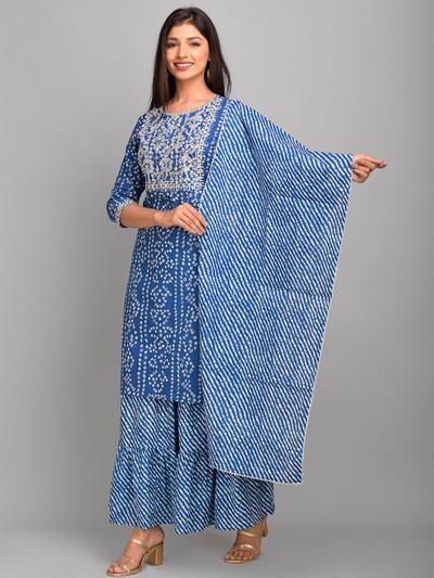 Blue color cotton punjabi style festive wear sharara suit