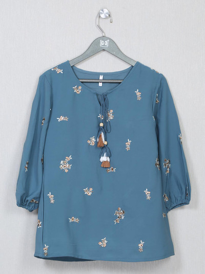 Blue cotton casual top for women