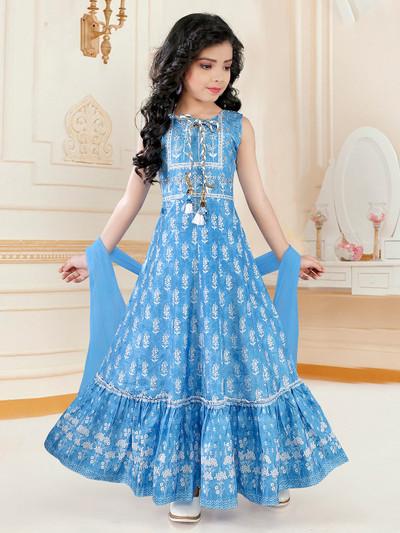 Blue cotton festive wear anarkali suit for girls