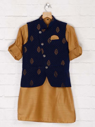 Blue cotton party waistcoat set