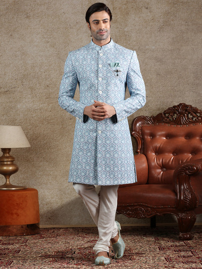 Blue cotton silk indo western for party function