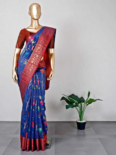 Blue festive wear cotton saree for women