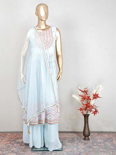 Blue georgette designer salwar suit for women