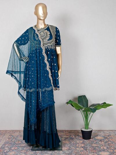 Blue georgette festive wear beautiful palazzo suit