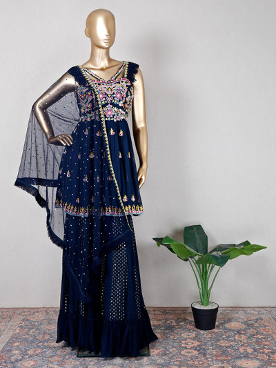Blue georgette palazzo suit for festive