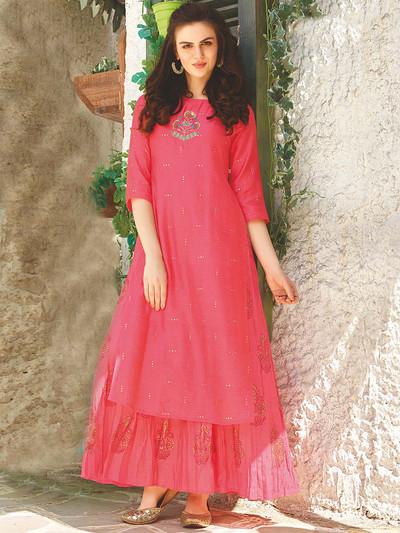 Pink hue cotton round neck kurti