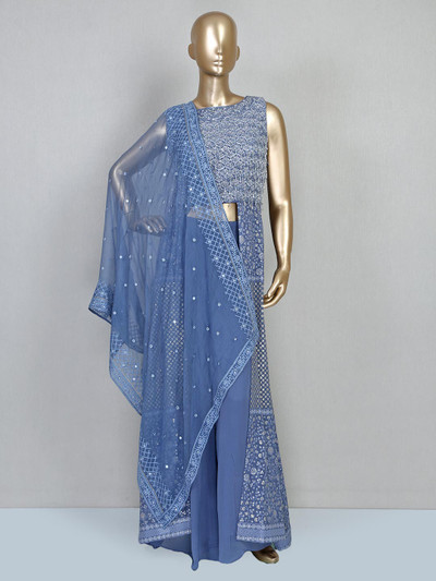 Blue indo western salwar suit for party