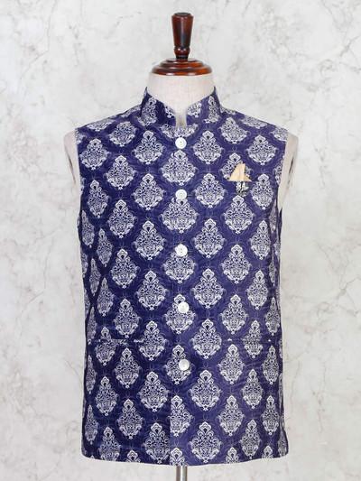 Blue party wear mens cotton silk waistcoat