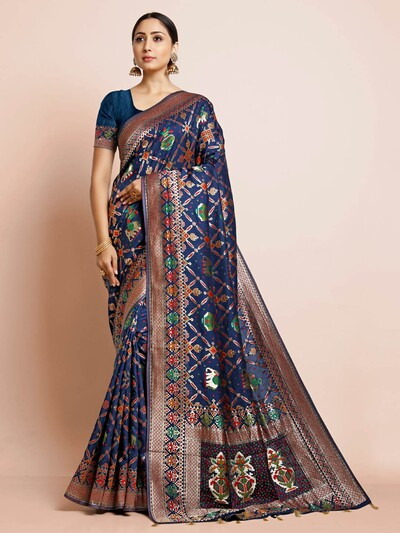 Blue patola silk saree for wedding function