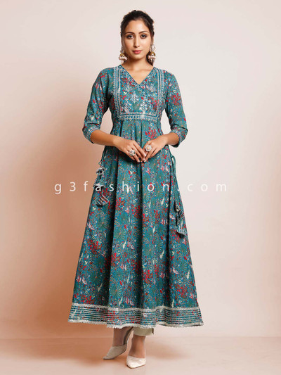 Blue printed cotton casual kurti