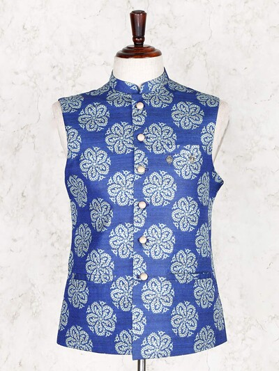 Blue printed cotton silk waistcoat for mens